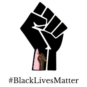 Black power fist with the #BlackLivesMatter underneath it