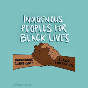 Two arms reaching out and clasping hands. Indigenous solidarity with Black People for Black Lives Matter